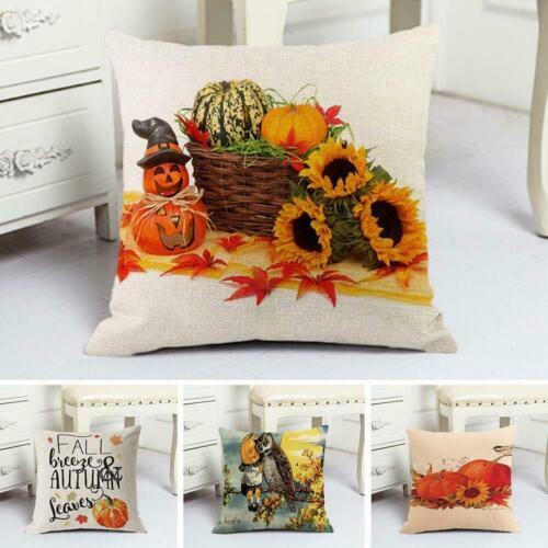 Halloween Pumpkin Cotton Linen Throw Pillow Cases Cushion Home Sofa Covers N3P1