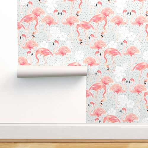 Removable Water-Activated Wallpaper Flamingo Baby Summer Tropical Hibiscus