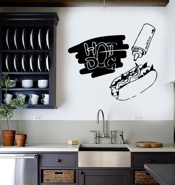 Vinyl Wall Decal Hot Dog Fast Food Cook Canteen Kitchen Stickers (ig4522)