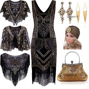 Gatsby Flapper 1920s Beaded Vintage Fringe Sequin Sleeveless Women Party Dresses