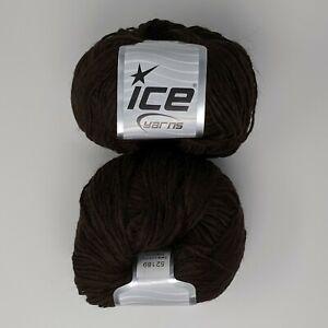 Lot-of-2-Skeins-Ice-Yarn-Luxury-Premium-Dark-Brown-15-Alpaca-10-Viscose
