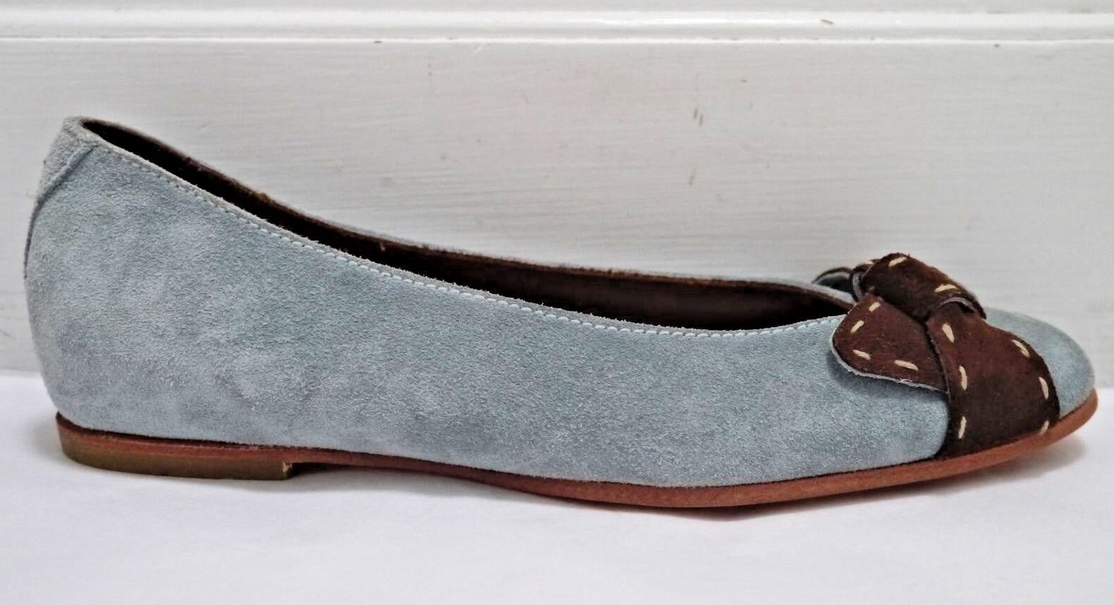 NEW HENRY BEGUELIN light bluee bluee bluee and brown suede ballet flats shoes Italian size 36 daa3ba