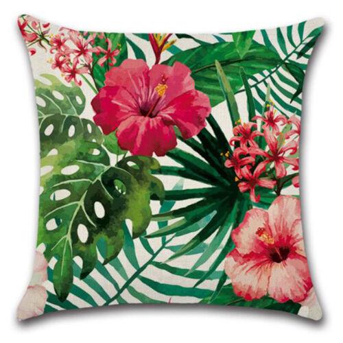 Tropical Plant Green Leaves /& Flower Linen Pillow Case Cushion Cover Sofa Decor