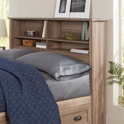 Headboard Full Queen Size Bed Bedroom Furniture Bookcase Storage Organizer New