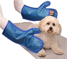Veterinary X Ray Mittens Pair Finger Slit Blue Usa Made