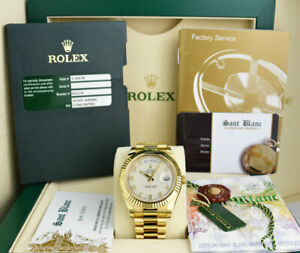 ROLEX - 18kt Gold Day Date II President 41mm Ivory Concentric 218238 SANT BLANC