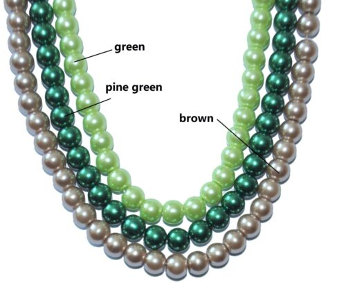 a string glass pearl beads 6 mm /& 8 mm pine green and brown green