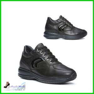 Pour Sur Détails Geox Hiver Sportif Lacets Casual Chaussures Femmes En Avec Cuir Baskets wOknP0