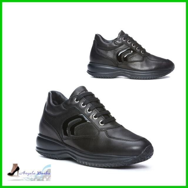 Geox Scarpe da Donna Casual Sneakers Invernali in Pelle Sportive con Lacci Zeppa