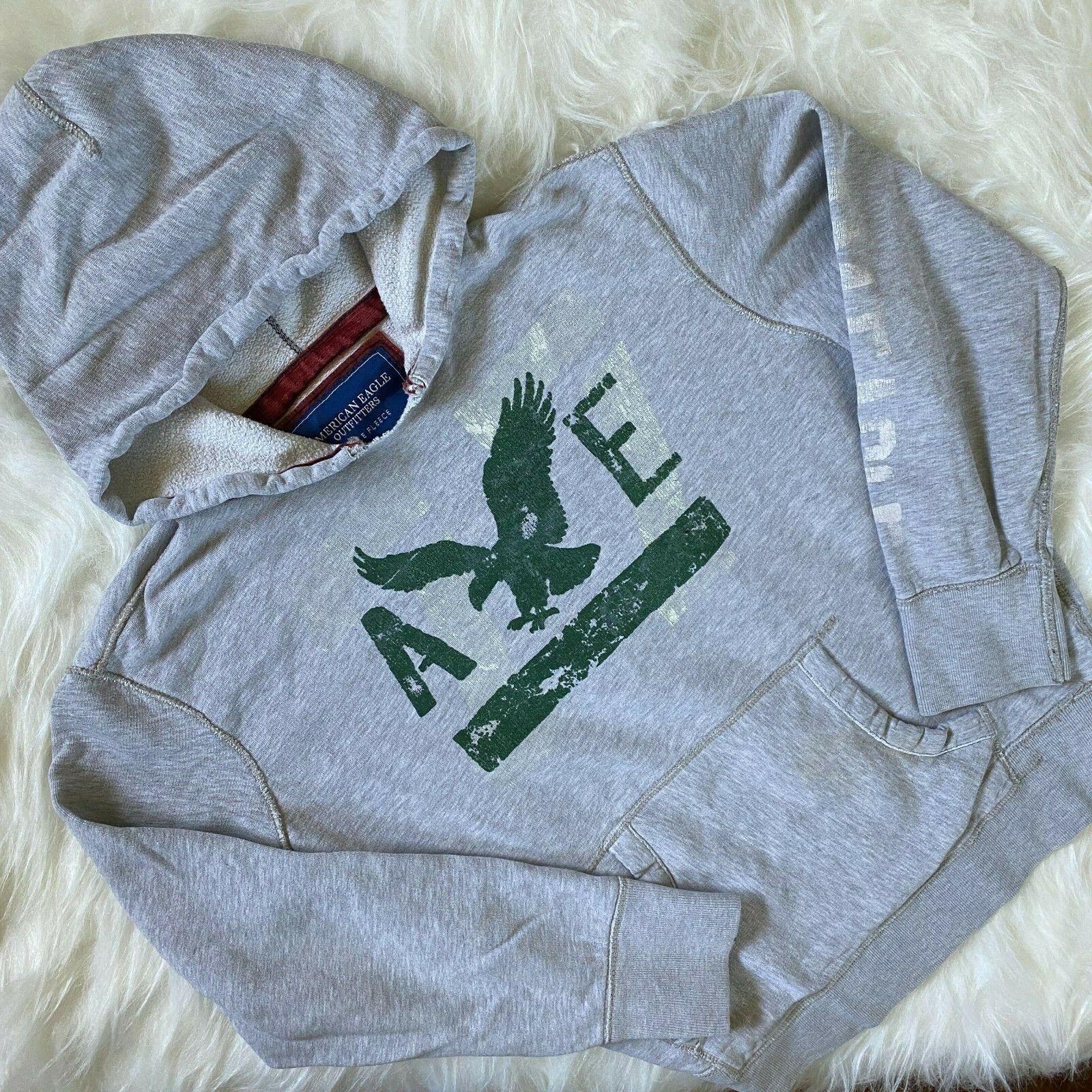 American Eagle Sweatshirt XL Hoodie Gray Cut Off Collar Paint Splash Distressed