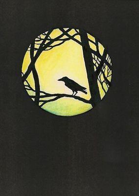 ACEO PRINT OF PAINTING RYTA RAVEN CROW MOON HALLOWEEN MAGIC MOON haunt FOLK ART
