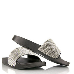 0ddfa2e3622a Women Ladies Sliders Sandals Slip On Glitter diamante sparkly Flip ...