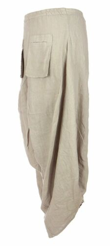 NEW Women Linen Italian Harem Tulip Parachute 2 Slit Pocket Trousers Plus Sizes