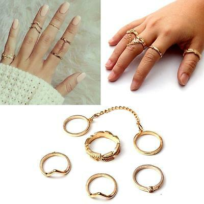 Lots 6pc/set Gold/Silver Leaf V Shape Knuckle Mid Finger Tip Stacking Chain Ring