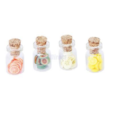 Set of 4Pcs Miniature Glass Jars with Lids for 1/12 Dollhouse