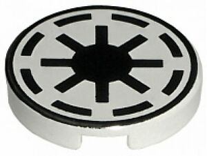 LEGO STAR WARS White Tile Round 2 x 2 with SW Republic Pattern