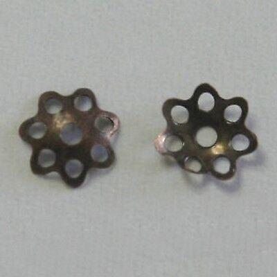 """50 Intercalaires Corolles /""""Fleur/""""  /""""Hématite/"""" Ø 6 mm"""