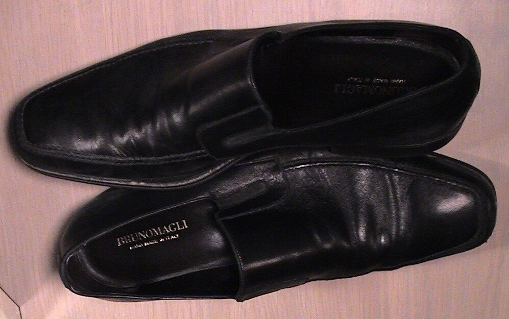 Bruno Magli Raging Black Calfskin Leather Loafers Dress 12 M Hand Made in ITALY