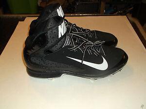 Nike-Air-Huarache-Pro-Mid-Metal-Black-Baseball-Cleats-size-13