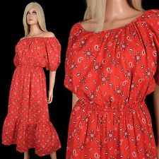 Vintage 70s Red BANDANA PRINT DRESS Western Off Shoulder Ruffle Hippy Festival