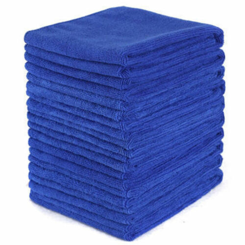 5Pcs Blue Soft Absorbent Wash Cloth Car Auto Care Microfiber Cleaning Towels KY