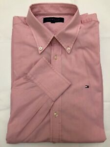 Tommy-Hilfiger-pink-oxford-men-shirt-long-sleeves-size-M-cotton