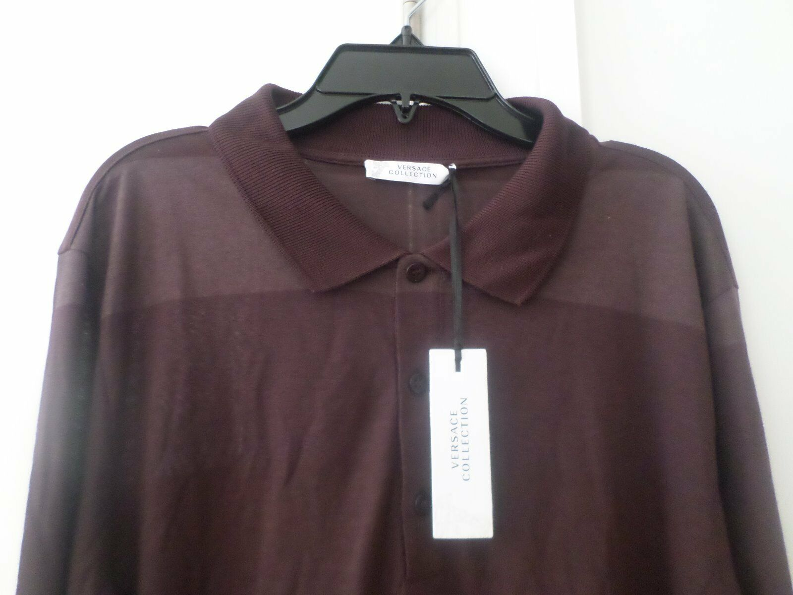 NWT Authentic VERSACE COLLECTIONDARK PURPLE Striped Long Sleeve POLO Shirt m