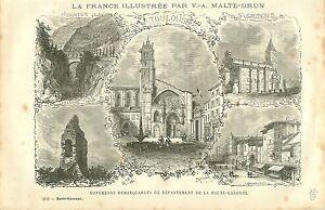 Haute Garonne Toulouse Saint-Sauveur Saint-Gaudens FRANCE GRAVURE OLD PRINT 1882 - France - ANTIQUE PRINTGRAVURE 100 % DÉPOQUE 1882 PORT GRATUIT EUROPE A PARTIR DE 4 OBJETS BUY 4 ITEMS AND EUROPE SHIPPING IS FREE Il s'agit d'un fragment de page originale avec texte au dos qui n'a rien voir avec l'image, il ne s'agit pas d'une reproduct - France