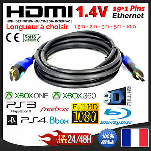 Cable-HDMI-1-4V-Ethernet-PS3-PS4-XBox-HD-TV-3D-1080P-1-5m-2m-3m-5m-10m-15m-20m