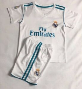 new styles bd601 fc3ee Details about New 2018 Kids Soccer Jersey Real Madrid Cap Home #7 Ronaldo  Kit Top+Short Set