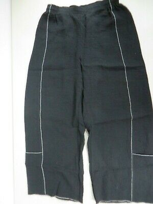 Nwot Xiao Organic Linen Wide Leg Pull-on Black W.white Stitch Pants Small Beautiful In Colour Women's Clothing