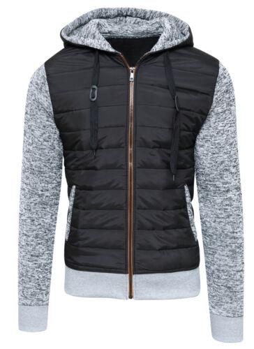 S M L Strickjacke Sweatshirt Herren Diamant Casual Schwarz Grau Daunen Jacke GR