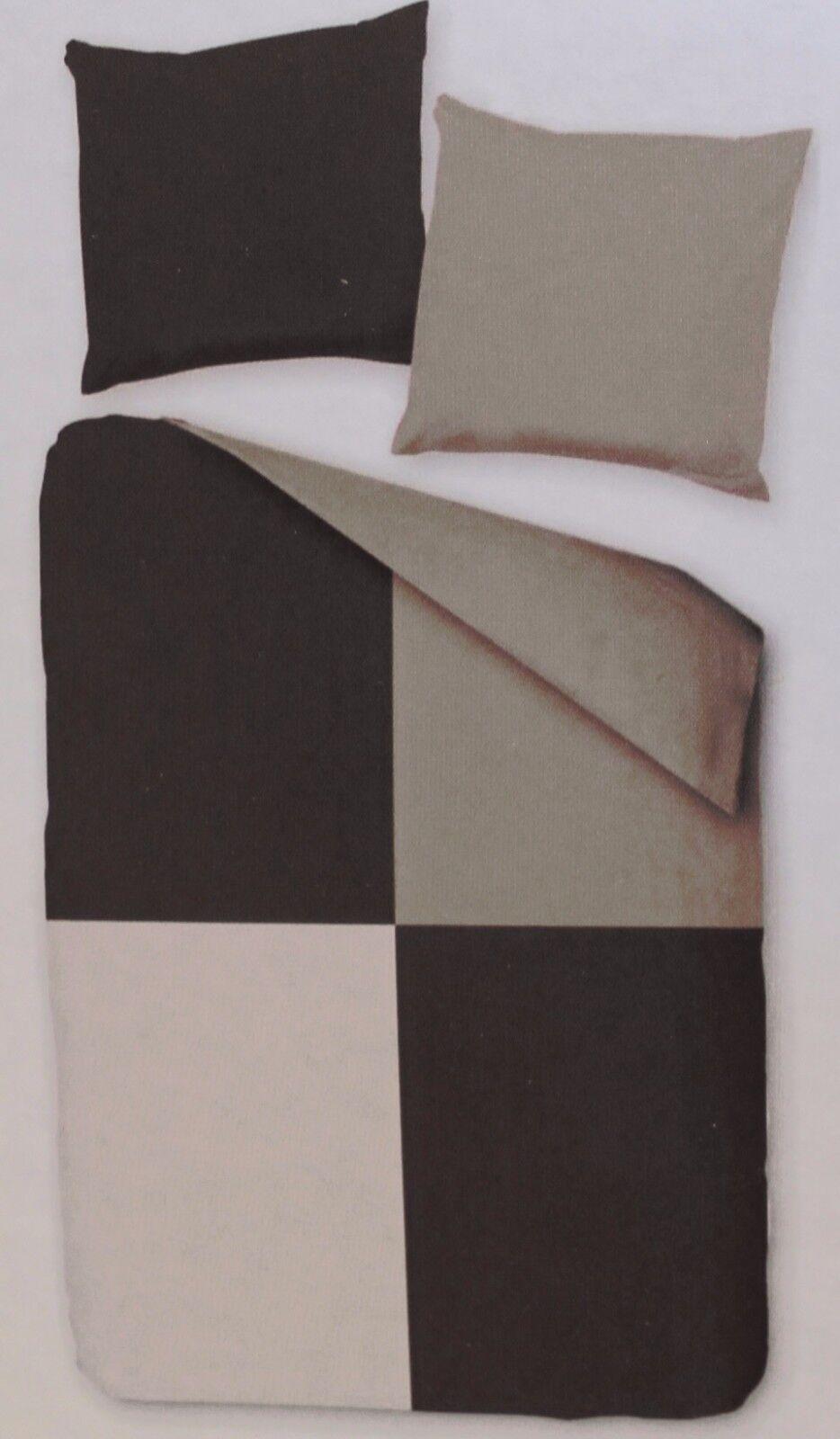 Fleece Wende Bettwäsche übergröße 155x220 80x80cm Grau 2 Od4 Tlg