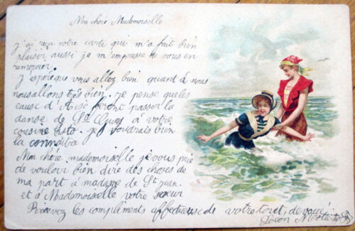 1900 Bathing BeautyPinupRisque Poscard Women Playing in the Water Litho