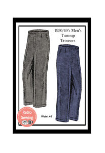 1940-039-s-Men-039-s-Flannel-Trousers-Vintage-Sewing-Pattern-40-034-Waist-Reproduction