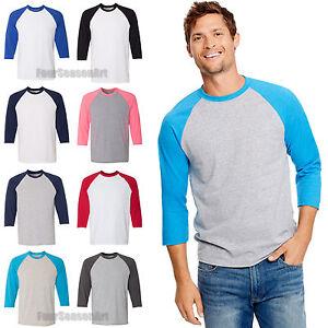 60e80641 Hanes Mens X-Temp Three Quarter Sleeve Baseball T Shirt 3/4 Tee 42BA ...