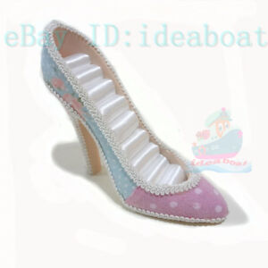 pink-blue-High-Heel-Shoe-Jewelry-Ring-Holder-Display-Organizer-Stand-tall-12cm