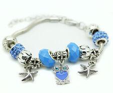 Light Blue Murano Glass Bracelet Owl Crystal Brass Charm Bangle Star Bead Ladies