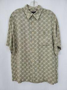CLAIRBORNE-Mens-Hawaiian-Shirt-Size-Large-Geometric-Pattern-Rayon-Olive-Green