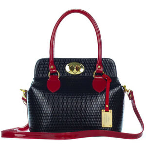 3dd2f40d42920 AURA Italian Made Genuine Black & Red Patent Leather Structured Tote ...