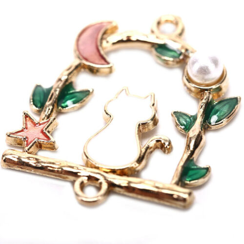 HOT 10Pcs Enamel Alloy Stars Moon Cat Charms Metal Pendants DIY Jewelry Findings