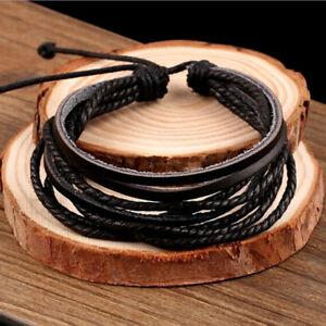 Fashion-Men-Women-Surfer-Tribal-Wrap-Multilayer-Genuine-Leather-Cuff-Bracelet-x1