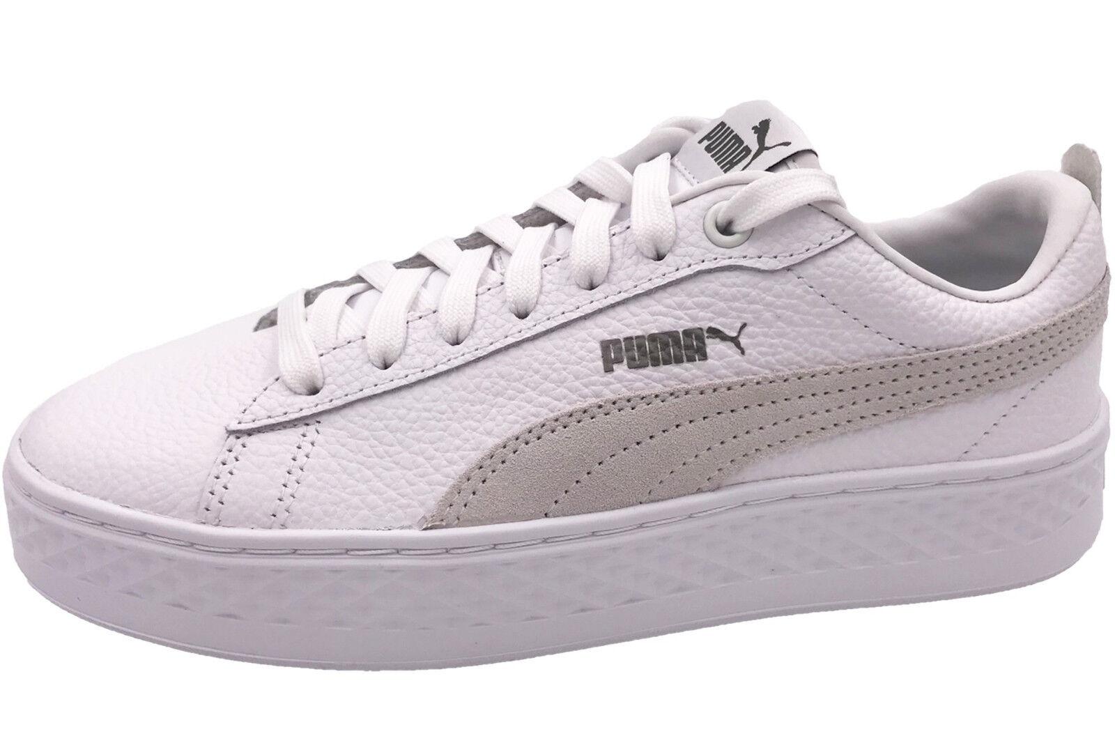 PUMA Smash Platform L Damen Sneaker Weiß Pateau Schuhe 366487-06 WEISS NEU
