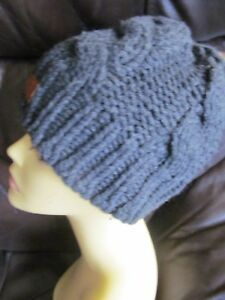 accda9f4 Details about Next grey cable knit chunky merino wool cotton blend beanie  hat