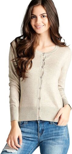 ToBeInStyle Women/'s Long Sleeve Button Up Ribbed Crew Neck Cardigan Sweater