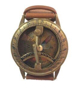 Antique-Brass-Wrist-Steampunk-Sundial-Compass-Nautical-Maritime-Watch-Sundial