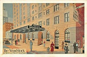 NEW-YORK-HOTEL-WOODSTOCK-W-43rd-STREET-CENTER-OF-EVERYTHING-1941-ARTIST-POSTCARD