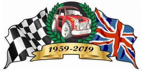 60th Mini Clásico Aniversario Crest 1959-2019 Koolart Works S Rally Pegatina de Coche
