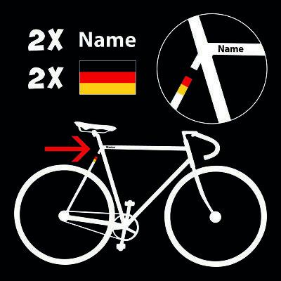 5x ✔ Fahrrad Namens Aufkleber ✔ Deutschland Flagge Name ✔ 10cm ✔ Sticker ✔