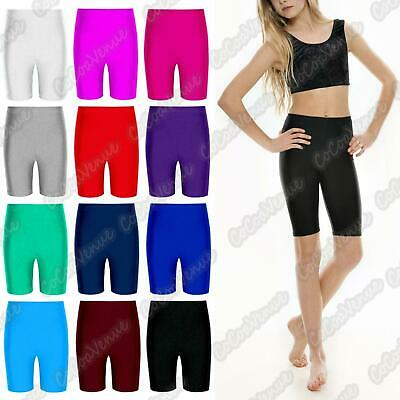 Kids Girls Elasticated Knee Stretch Fit Cycling Cotton Shorts Size 3-14 Years